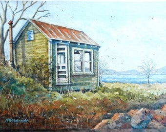 Abandoned Cabin In The Woods Original Watercolor