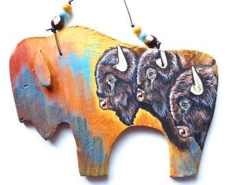 Buffalo bison western spirit symbol native American Indian great plains Sioux Lakota Yellowstone contemporary western art wall hanging clay