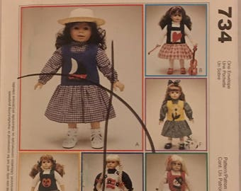 """McCalls Craft Pattern 734 Clothing for 18"""" Doll UNCUT"""
