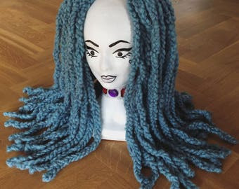 Single Ended Blue Mist Knitted Wool Dread Fall Set