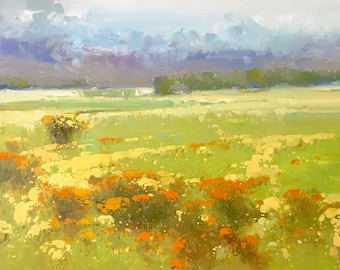 Summer, Landscape Original oil Painting, Handmade painting, One of a kind
