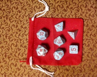Blood on the Snow - 7 Die Polyhedral Set with Pouch
