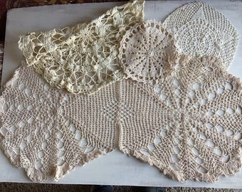 4 Old Fashioned Ecru Color Crocheted Doilies