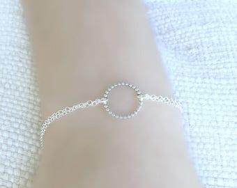 Silver Eternity  Bracelet Circle Bracelet Karma Bracelet Layering Bracelet 925 sterling silver Circle Ring Bracelet Friendship Minimalist