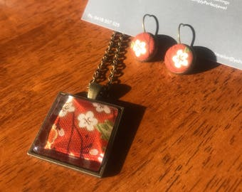 Japanese fabric square pendant with matching earrings