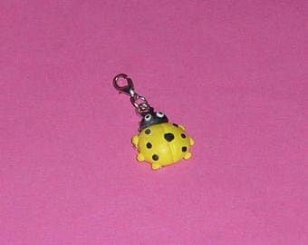 """1 Charms """"Ladybug"""" polymer clay and yellow metal 27mm"""