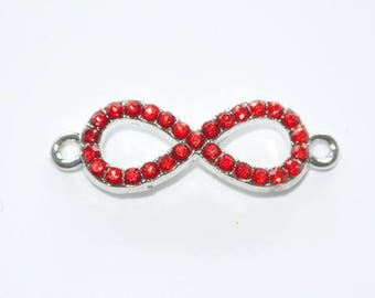 X 1 base red rhinestone infinity connector silver 32mm