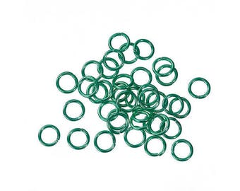 X 10 green 10mm metal jump rings