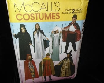 Womens Mens Boys Costumes McCalls 2853 Misses Mens Teen Boys Costumes Sizes Small - Extra Large