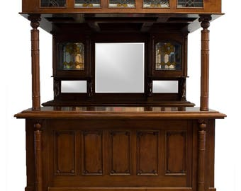 The Dublin Irish or English Horse Canopy Home Bar Tavern Furniture Mahogany