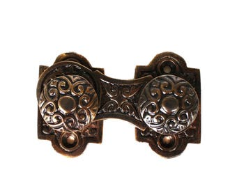 Victorian Bronze Swivel Surface Catch with Knobs Hardware Cabinet Restoration