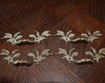Vintage Set of 4 French Dark Brass Small Drawer Pulls Handles Hardware