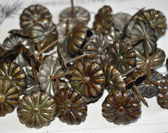 Antique Set of 10 French Brass Finish Decorative Upholstery Tacks Nails Hardware DIY Large Nailheads