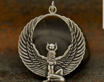 Sterling Silver Egyptian Winged Goddess Pendant, Silver Isis Pendant,Egyptian Pendant, Goddess Pendant,Isis Goddest Pendant,Egyptian Pendant