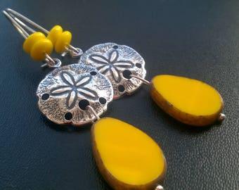 Small lemon prints starfish and Czech glass earrings
