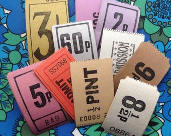 30 Assorted Admission Tickets - Mixed Media - Altered Art - Assemblage - Cards - Scrapbooking - Papercraft
