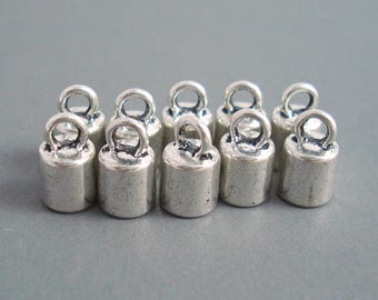 6MM End Cap, Ten Silver Caps for Leather, Kumihimo or Cord (CAP6-002)