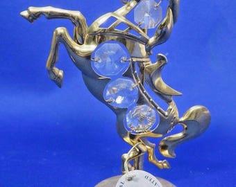 Carousel Horse Figurine Austrian Crystal Delight 24K Gold Plated MASCOT USA Vtg