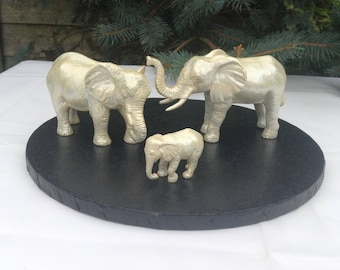 Elephant wedding cake topper or table centrepiece in pearl .Good luck elephants.