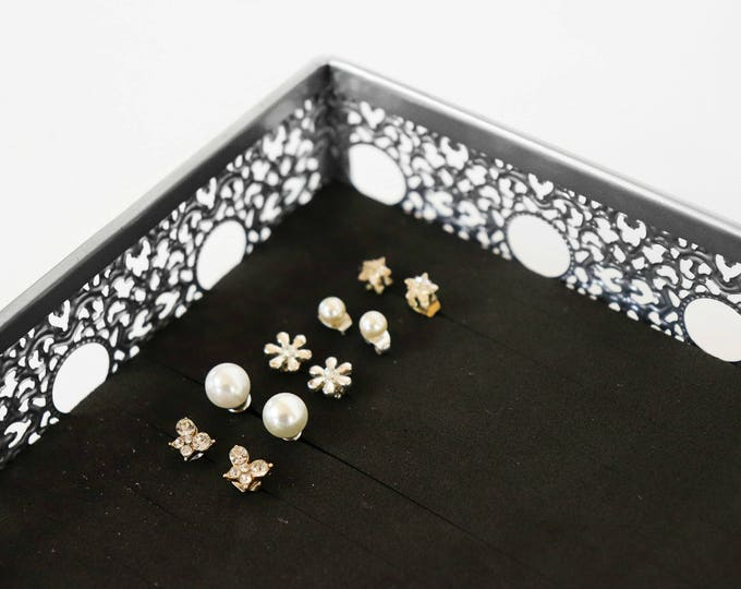Silver Jewelry Tray - Earring Holder - Elegant Side Design
