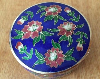 Cloisonne Round Box Blue with Cherry Blossoms