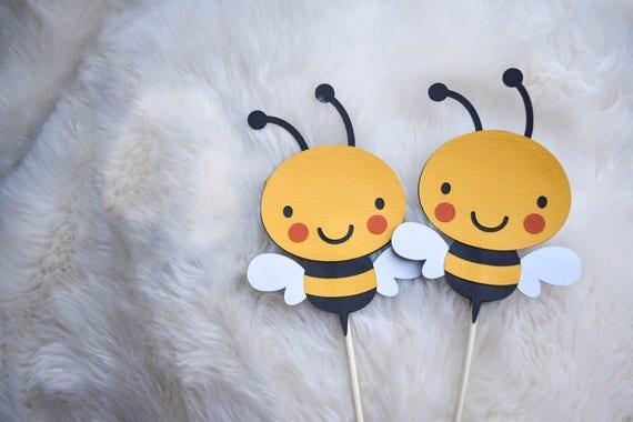 Bee Centerpieces, Bee Cake topper, Spring party decor