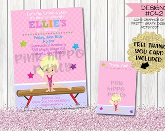 Gymnastics Tumbling, Tumble Girl:Design #042-Children's Birthday Party Digital Invitation File 4x6 or 5x7 Free Thank You Card with Purchase