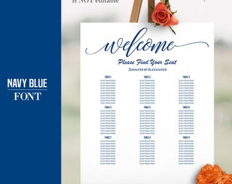 Navy Blue Table Seating Chart, printable seating chart template, 16x20, 18x24, 20x30, and 24x36, Self Editable PDF, Instant Download A624