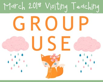 GROUP USE: March 2018 Visiting Teaching Printable Kit, Instant Download