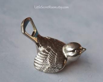 Vintage Bottle opener, figurine Bird cap lifter, Vintage metal opener