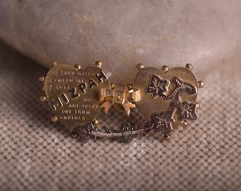 Mizpah Sweetheart Brooch, Two Hearts and Mizpah Poem, Antique 1800's Pin