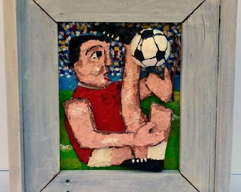 Soccer Player:  Original 3D Mixed Media  Art Painting Gift Reclaimed Wood Frame