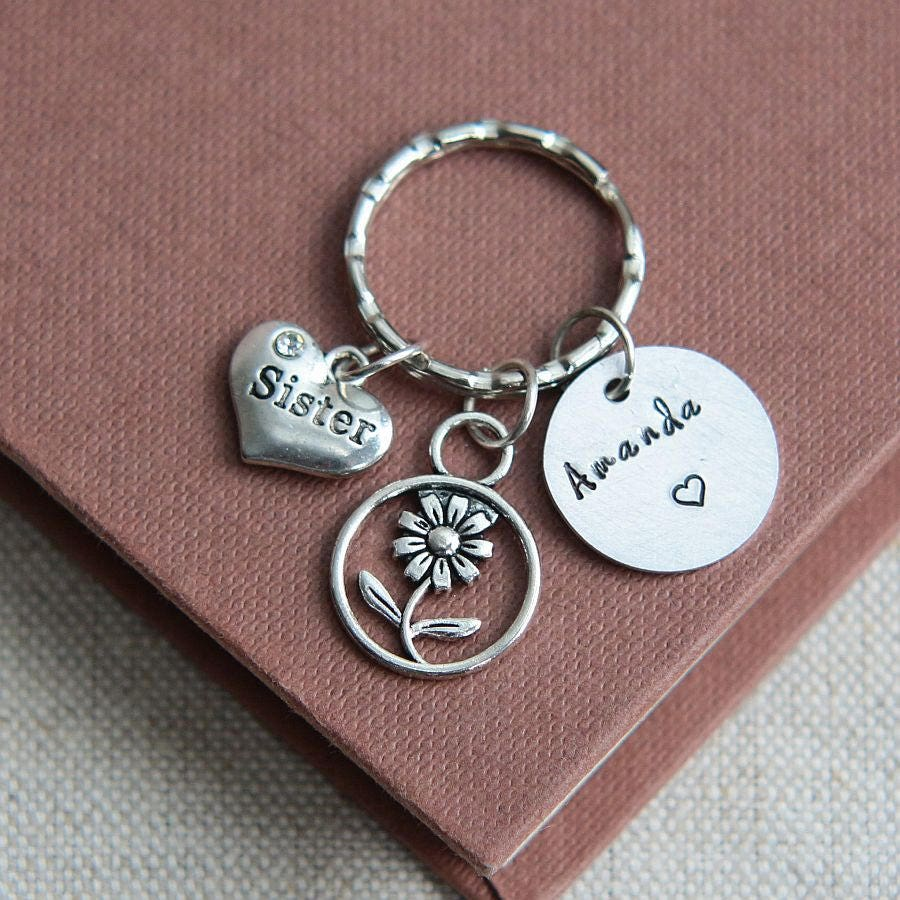 Sister Keychain Keyring Personalized Name Gift For