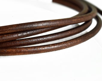 Leather Cord 4mm, Brown Greek Leather Cord, Necklace Cord, Jewelry Supplies, 1 meter