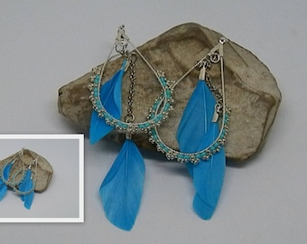 Weaving turquoise and silver feather earrings