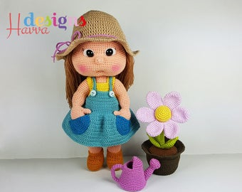 Crochet Pattern - Mia The Gardener (Amigurumi Doll)