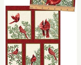 "Summer Sale- A festive Season Cardinal Creme Panel 24"" x 44"" ~Christmas Cotton Fabric by~Benartex~Fast Shipping HC439"