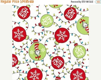 Summer Sale- The Cat in the Hat Christmas~Holiday Circles Cotton Fabric by~Robert Kaufman~Fast Shipping HC512