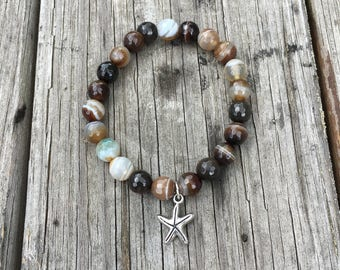 Dark Brown Faceted Bead Bracelet with Starfish Charm