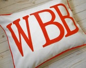 Monogram Pillow Sham,  Fits Standard Pillow, Bed Pillow case, Monogrammed decorative pillowcase,, Initials, Appliqued Letters, pillow covers