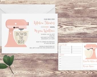 Printed Kitchen Shower Recipe Card Invitation, Kitchen Bridal Shower Invitation, Bridal Recipe Cards for Shower, Bridal Shower Invitation