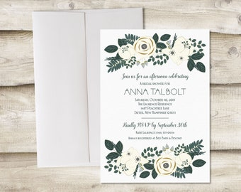 Printed Bridal Shower Invitation with Ivory Flowers, Rehersal Dinner Invitation, Engagement Party Invite, Wedding Brunch, Baby Shower