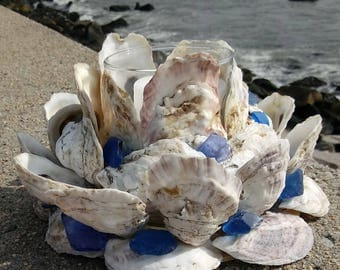 Oyster Shell Wreath With Candle - Beach Decor - Nautical Centerpiece (OS010)