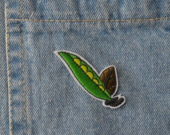 Embroidered Green Pea Pod Iron On Back Patch,Sew on Pea Pod Applique
