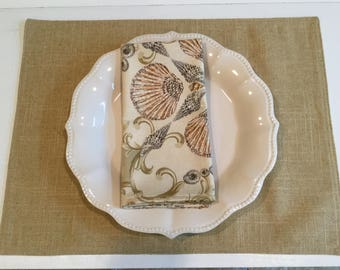 Fabric placemats, set of 4, Table linens, Sea Shells