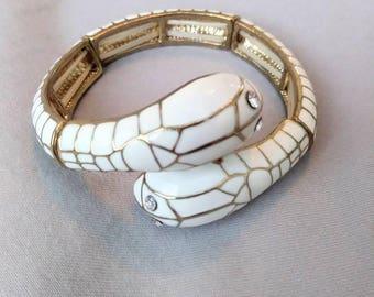 Vintage Enamel Snake Stretch Wrap Bracelet White Gold Rhinestone Snake