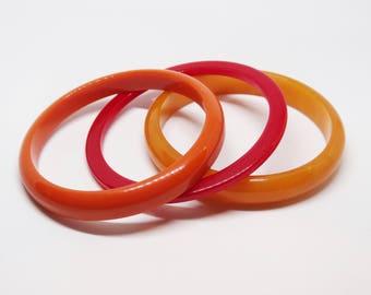 Bakelite Bangle Stack of 3 Bakelite Bangle Bracelets Orange Red Fall Colors