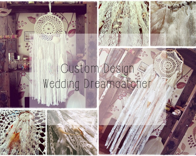 Boho Wedding Dreamcatcher - Custom Design Wedding Decor - Photo Backdrop - Rustic Wedding Wall Hanging Decor - White Dream Catcher