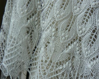 Estonian Wedding White Beaded Hand Knit Lace Shawl