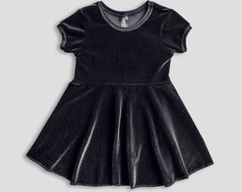 Black Holiday Velvet Dress for Girls // Alternative Kids // Goth Fashion